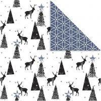 Designpapir, hjort & mønster, 180 g, svart, sølv, hvit, 3 ark/ 1 pk.