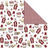 Designpapir, nøtteknekker, 180 g, gull, rød, hvit, 3 ark/ 1 pk.