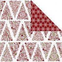 Designpapir, juletrær & stjerner, 30,5x30,5 cm, 180 g, gull, rød, hvit, 3 ark/ 1 pk.