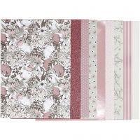 Designpapir i blokk, str. 21x30 cm, 120+128 g, beige, brun, rosa, hvit, 24 ark/ 1 pk.