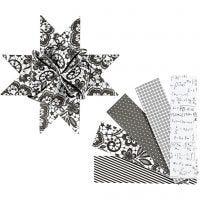 Stjernestrimler, L: 100 cm, dia. 18 cm, B: 40 mm, svart, hvit, 40 strimler/ 1 pk.