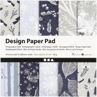 Designpapir i blokk, 15,2x15,2 cm, 120 g, blå, grå, 50 ark/ 1 pk.