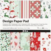 Designpapir i blokk, 15,2x15,2 cm, 120 g, grønn, rød, hvit, 50 ark/ 1 pk.
