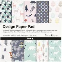 Designpapir i blokk, 15,2x15,2 cm, 120 g, lys grønn, rosa, hvit, 50 ark/ 1 pk.