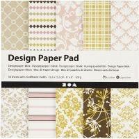 Designpapir i blokk, 15,2x15,2 cm, 120 g, grønn, rosa, 50 ark/ 1 pk.