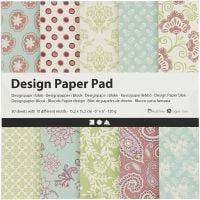 Designpapir i blokk, 15,2x15,2 cm, 120 g, mintgrønn, lilla, 50 ark/ 1 pk.