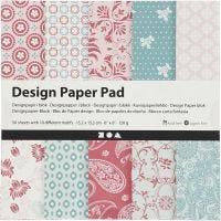 Designpapir i blokk, 15,2x15,2 cm, 120 g, rosa, 50 ark/ 1 pk.