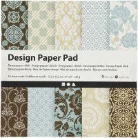 Designpapir i blokk, 15,2x15,2 cm, 120 g, lys blå, brun, 50 ark/ 1 pk.