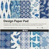 Designpapir i blokk, 15,2x15,2 cm, 120 g, blå, 50 ark/ 1 pk.