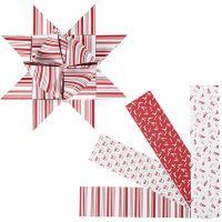 Stjernestrimler, L: 100 cm, dia. 18 cm, B: 40 mm, rød, hvit, 40 strimler/ 1 pk.