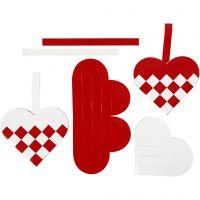 Flettede julehjerter, str. 13,5x12,5 cm, rød, hvit, 8 sett/ 1 pk.