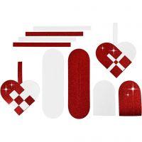 Flettede julehjerter, str. 14,5x10 cm, 120+128 g, rød, hvit, 8 sett/ 1 pk.