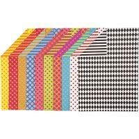 Mønstrete kartong, A4, 210x297 mm, 250 g, ass. farger, 200 ass. ark/ 1 pk.