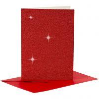 Kort og konvolutter, kort str. 10,5x15 cm, konvolutt str. 11,5x16,5 cm, glitter, 110+250 g, rød, 4 sett/ 1 pk.