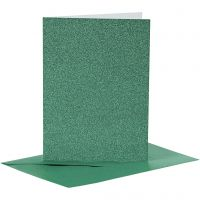Kort og konvolutter, kort str. 10,5x15 cm, konvolutt str. 11,5x16,5 cm, glitter, 110+250 g, grønn, 4 sett/ 1 pk.