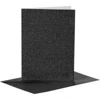 Kort og konvolutter, kort str. 10,5x15 cm, konvolutt str. 11,5x16,5 cm, glitter, 110+250 g, svart, 4 sett/ 1 pk.