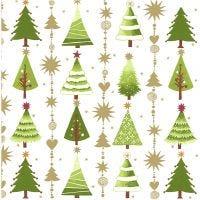 Servietter, juletrær, str. 33x33 cm, 20 stk./ 1 pk.