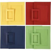 Passepartoutrammer, str. A4+A6 , blå, grønn, rød, gul, 2x60 stk./ 1 pk.