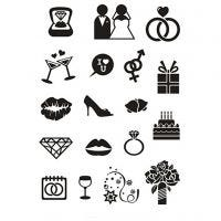 Silikonstempler, bryllup, 11x15,5 cm, 1 ark