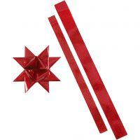 Stjernestrimler, L: 86+100 cm, dia. 11,5+18,5 cm, B: 25+40 mm, rød, rød glitter, 16 strimler/ 1 pk.