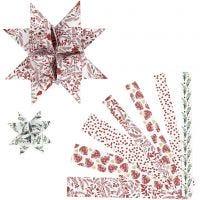 Stjernestrimler, L: 44+78 cm, dia. 6,5+11,5 cm, B: 15+25 mm, rød, hvit, 48 strimler/ 1 pk.