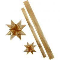Stjernestrimler, L: 86+100 cm, dia. 11,5+18,5 cm, B: 25+40 mm, gull glitter, 16 strimler/ 1 pk.