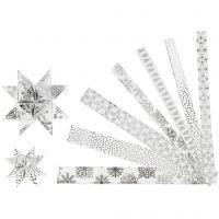 Stjernestrimler, L: 44+78 cm, B: 15+25 mm, dia. 6,5+11,5 cm, sølv, hvit, 48 strimler/ 1 pk.