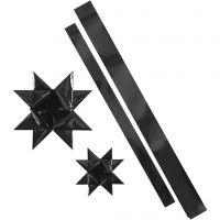 Stjernestrimler, L: 86+100 cm, B: 25+40 mm, dia. 11,5+18,5 cm, svart, 16 strimler/ 1 pk.