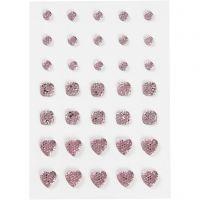 Rhinstein, rund, firkant, hjerte, str. 6+8+10 mm, rosa, 35 stk./ 1 pk.