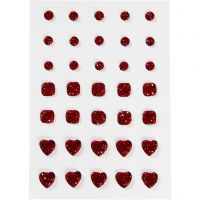 Rhinstein, rund, firkant, hjerte, str. 6+8+10 mm, rød, 35 stk./ 1 pk.