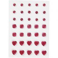 Rhinstein, rund, firkant, hjerte, str. 6+8+10 mm, pink, 35 stk./ 1 pk.