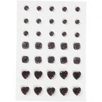 Rhinstein, rund, firkant, hjerte, str. 6+8+10 mm, svart, 35 stk./ 1 pk.