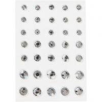 Rhinstein, rund kjegle, str. 6+8+10 mm, sølv, 35 stk./ 1 pk.
