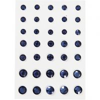 Rhinstein, rund kjegle, str. 6+8+10 mm, blå, 35 stk./ 1 pk.
