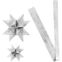 Stjernestrimler, L: 44+78 cm, dia. 6,5+11,5 cm, B: 15+25 mm, sølv, 32 strimler/ 1 pk.