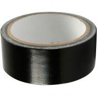 Lerretstape, B: 38 mm, svart, 25 m/ 1 rl.