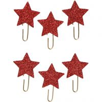 Klips, stjerne, dia. 30 mm, rød glitter, 6 stk./ 1 pk.