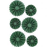 Rosetter, dia. 35+50 mm, grønn glitter, 6 stk./ 1 pk.
