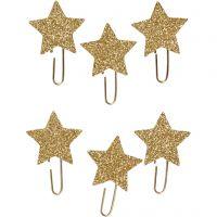 Klips, stjerne, dia. 30 mm, gull glitter, 6 stk./ 1 pk.
