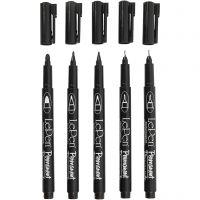 Permanent Tusj, strek 2x0,6+2x0,8+1,3 mm, svart, 5 stk./ 1 pk.