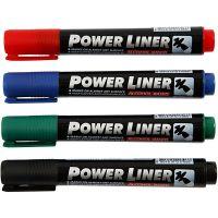Power Liner, strek 1,5-3 mm, svart, blå, grønn, rød, 4 stk./ 1 pk.