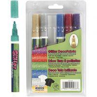 Deco tekstiltusj, strek 3 mm, glitter farger, 6 stk./ 1 pk.