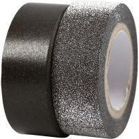 Designtape, B: 15 mm, svart, 2 rl./ 1 pk.
