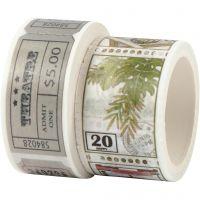 Masking Tape, Billett og naturmotiver, L: 3+5 m, B: 20+25 mm, 2 rl./ 1 pk.