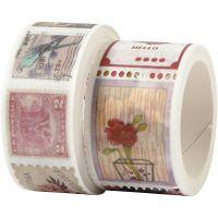 Masking Tape, Frimerke- og blomstermotiver, L: 3+5 m, B: 20+25 mm, 2 rl./ 1 pk.