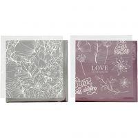 Limfolie og design limark, blomster, 15x15 cm, rosa, sølv, 4 ark/ 1 pk.