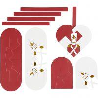 Flettede julehjerter, str. 12,5x11,5 cm, gull, rød, hvit, 8 sett/ 1 pk.