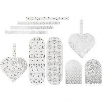 Flettede julehjerter, str. 12,5x11,5 cm, 120 g, sølv, hvit, 8 sett/ 1 pk.