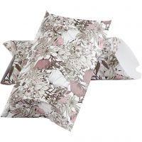Eske, blomster, str. 23,9x15x6 cm, 300 g, beige, brun, rosa, hvit, 3 stk./ 1 pk.