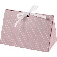 Eske, prikker, str. 15x7x8 cm, 250 g, rosa, hvit, 3 stk./ 1 pk.